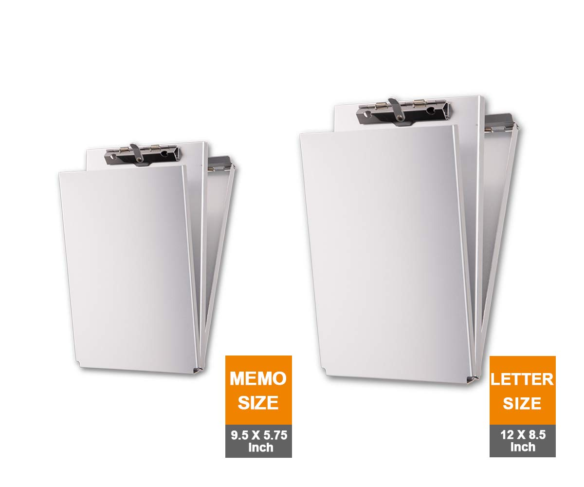 Summit Tools Dual Storage Aluminum Clipboard - Holder Memo Size (9.5 x5.75 Inch), Letter Size (12 x8.5 Inch) Document Storage with Self Locking Latch, Form Clip, 2 Storage Compartment [Combo 2-Pack] by Summit Tools