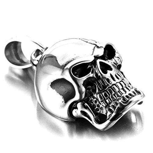 (Popular Silver Skull Head Pendant Necklace Stainless Steel Men's Biker Jewelry Free Chain 23.6