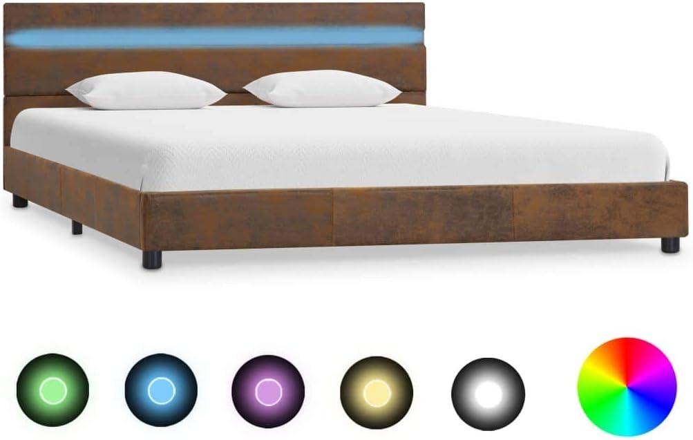 vidaXL Cadre de Lit avec LED Sommier /à Lattes Lit Rembourr/é Lit Coffre Lit Adulte Lit Double Chambre /à Coucher Maison Marron Tissu 160x200 cm