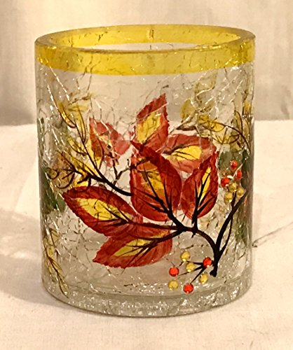 New Pier One Autumn Leaves Crackle Glass Tea Light Votive Candle Holder with Rhinestones
