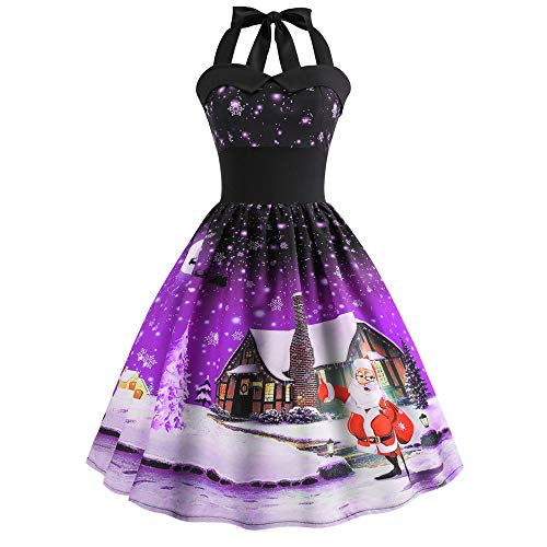 Sunhusing Ladies Stylish Sexy Halter Sleeveless Ball Gown Christmas Print Vintage Prom Big Swing Pleated Dress -