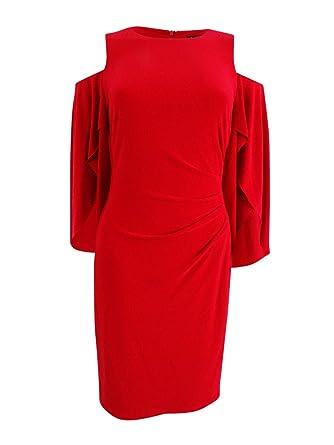 d7f21377f0b28 LAUREN RALPH LAUREN Womens Cold Shoulder Split Sleeve Cocktail Dress at  Amazon Women's Clothing store: