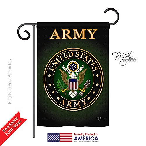 "Breeze Decor G158055 Army Americana Military Impressions Decorative Vertical Garden Flag 13"" x 18.5"" Printed In USA Multi-Color from Breeze Decor"