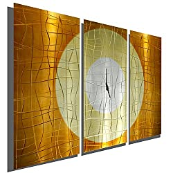 Large Gold Abstract Metal Wall Clock - Handcrafted Functional Art - Etched Modern Metal Wall Clock - Warm Embrace By Jon Allen - 38-inch