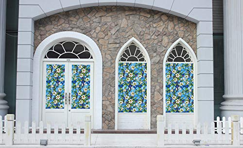 Ablave Decorative Privacy Window Film Frosted Window Film Stained Glass Window Film Window Clings No-Glue Self Static Cling for Home Bedroom Bathroom Kitchen Office 35.4\