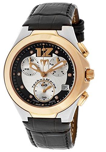 Watch Swiss Diamond Techno (Technomarine Tmncgw02 Women's Midsize Neo Classic Chronograph White Diamond (0.05 Ctw) Black Genuine Leather Watch)