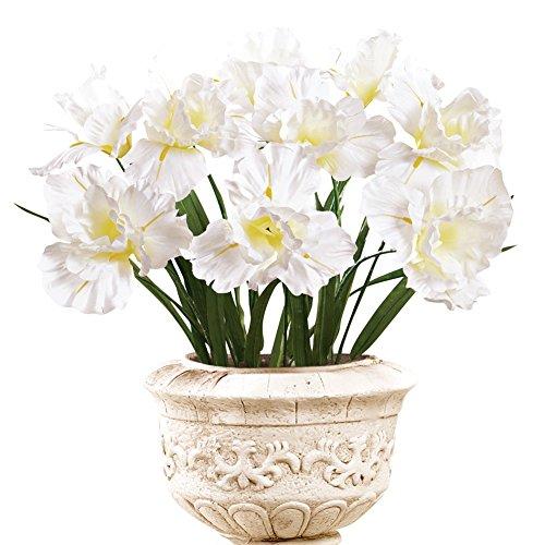 Iris Bushes Flower Arrangement Artificial Bush Picks - Set Of 3, White Iris Arrangement