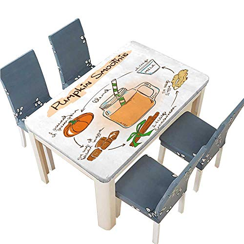 (PINAFORE Polyester Tablecloth Table Cover Hand Drawn Sketch Illustration with Pumpkin Smoothie Including Recipe and Ingredients for Dining Room W25.5 x L65 INCH (Elastic)
