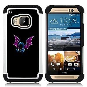 """HTC One M9 /M9s / One Hima - 3 en 1 impreso colorido de Altas Prestaciones PC Funda chaqueta Negro cubierta gel silicona suave (Meter mosnter azul del palo"""")"""