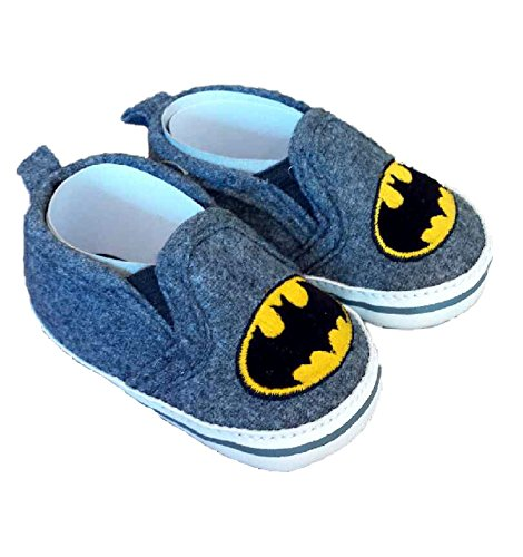 Image of Batman Boys Baby Infant Crib Shoes Slippers, DC Comics, Black/Grey/Yellow (3 (9-12 months))