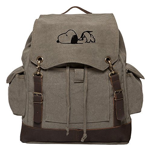 Snoopy Laying Flat Vintage Canvas Rucksack Backpack w/Leather Straps, Olive & Bk