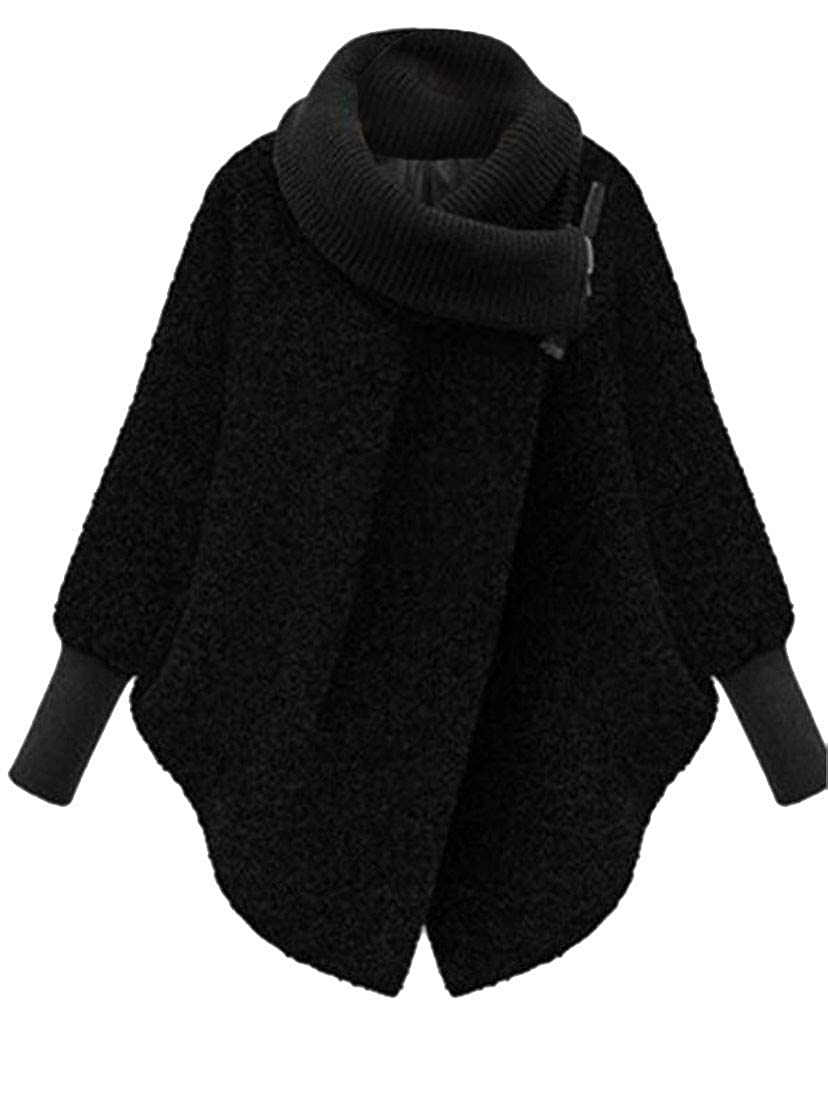 Agana Women Autumn Outwear Plus Size Thick Woolen Cape Poncho Pea Coat