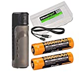 High Capacity Bundle: Fenix ARE-X11 18650 Battery Charging kit Including 2 X 3500mAh Li-ion Batteries and EdisonBright Battery Carry case