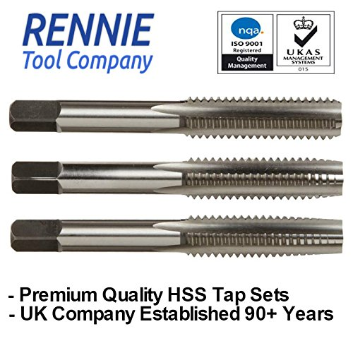 M8 x 1.25 HSS Hand/Machine Tap Set. 3 pieces - 1st, 2nd & 3rd Cut Rennie Tool
