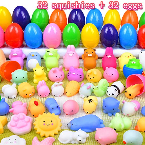 MOMOTOYS 32 Packs Easter Eggs Mochi Squishy Toys Easter Basket Stuffers Fillers Kawaii Animal Squishy Mini Squishies Surprise Easter Eggs Hunt Games Kids Boys Girls Birthday Gifts Party Favors