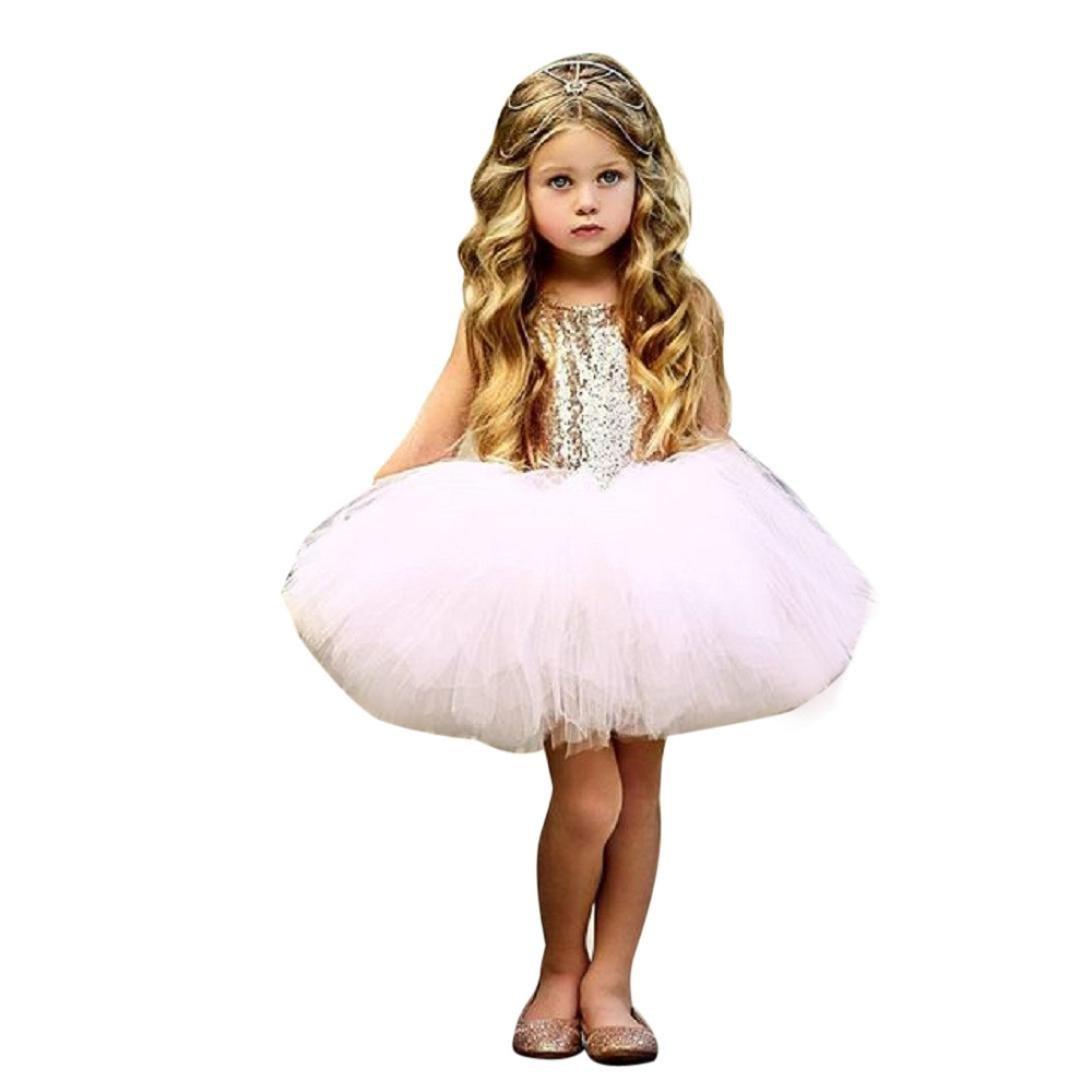 UOMOGO® Vestito da Ragazza Festa in Pizzo per Bambini Abiti da Sposa 0-4 Anni