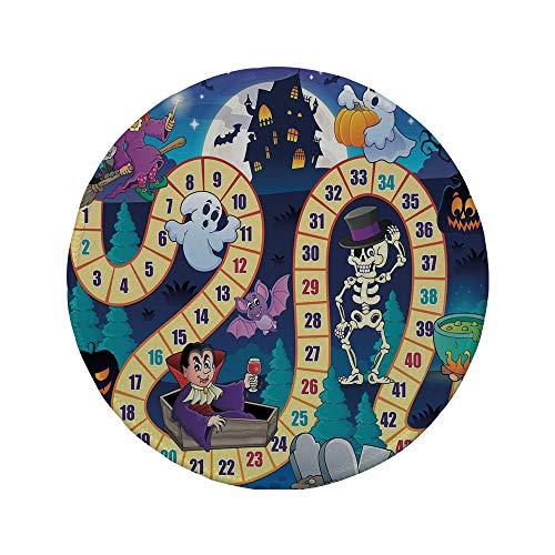 Non-Slip Rubber Round Mouse Pad,Board Game,Halloween Theme Symbols