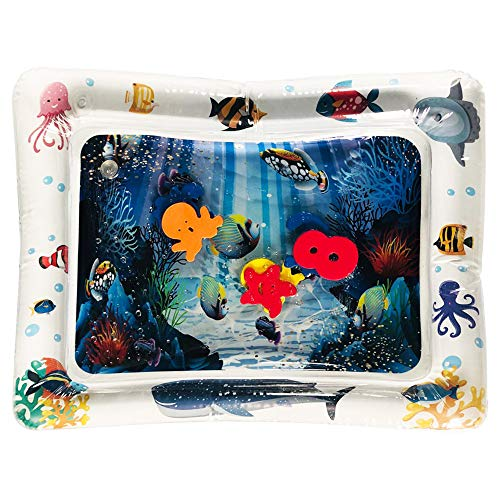 Amandaz Sky Infantino Pat and Play Water Mat Water Play Mat for Kids Fun,Cartoondolphin Whale Sea Animals Splash Play Mat (White)