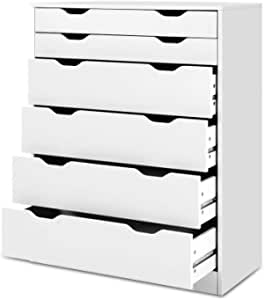Artiss 6-Drawer Tallboy, Wooden Chest of Drawers, White