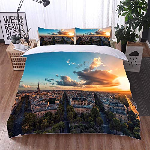 VROSELV-HOME 3 PCS King Size Comforter Set,Sunset Over Paris and The Eiffel Tower,Soft,Breathable,Hypoallergenic,Decorative 3 Piece Bedding Set with 2 Pillow Sham