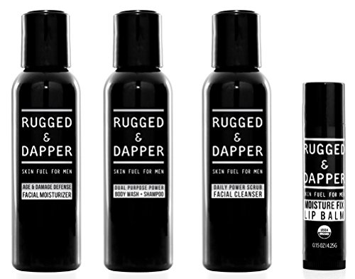 RUGGED & DAPPER Core Regimen Travel Kit - Includes Facial Moisturizer - Daily Facial Cleanser - Body Wash & Shampoo - Organic Lip Balm - with Natural & Organic Ingredients by RUGGED & DAPPER