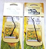 2 Yankee Candle Flowers in the Sun Classic Paperboard Car Jar Hanging Air Freshener Sachet