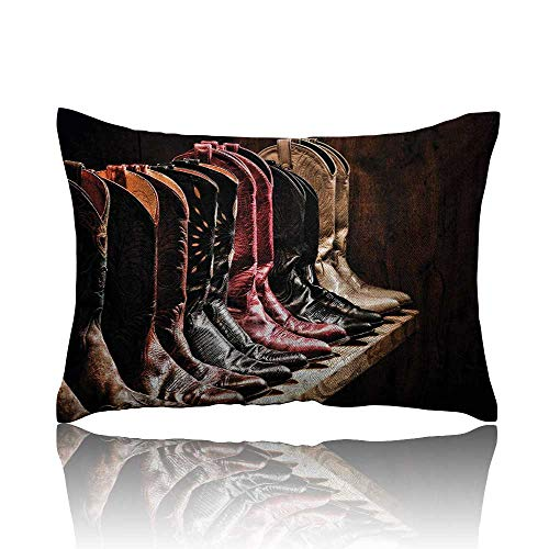homehot Western Mini Pillowcase Photograph of Various Type of Rodeo Fancy Cowgirl Leather Boots Collection Image Art Fun Pillowcase 20