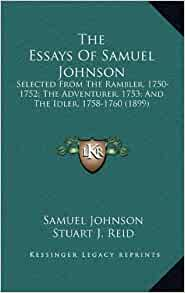 selected essays from the rambler adventurer and idler Selected essays from the rambler, adventurer and idler (yale edition of the works of samuel johnson) by johnson, samuel bate, w j yale university press.