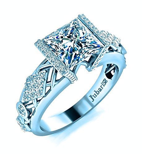 1.72Ctw Princess Cut Diamond Engagement Ring Contemporary Tension Set 18K White Gold Custom Jubariss Handmade
