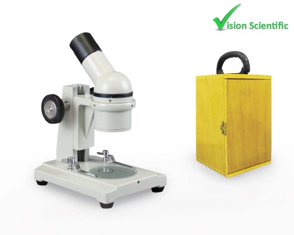 Vision Scientific VME0002 Field Trip Microscope with Wooden Carrying Case by Vision Scientific
