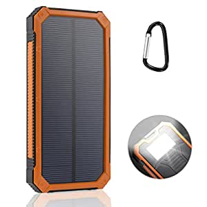 LANIAKEA 15000mAh Solar Charger, Dual USB Solar Panel Battery Charger for iPhone, Samsung, HTC, Nexus, Android Smart Phone, Windows Phone and Tablets, Orange
