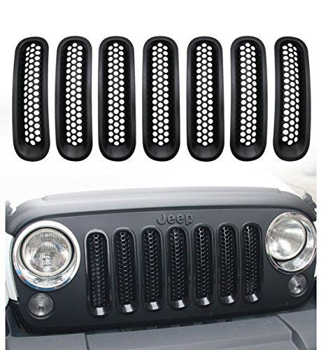 Sports Grille Kit (Danti 7PC Latest Design Black Front Grill Upgrade Clip in Version Grille Insert Kit For Jeep Wrangler JK JKU Sports Sahara Freedom Rubicon X & Unlimited X 2/4 door 2007-2016 (Black Clip))