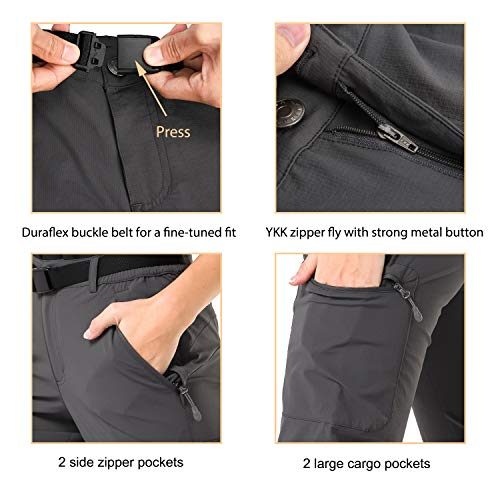 c9b44545e4f11 MIER Women's Outdoor Hiking Travel Cargo Pants Lightweight Stretch Active  Pants with 4 Zipper Pockets,