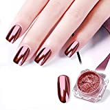 Yuxuan Rose Gold Chrome Nail Powder Mirror Effect Nail Pigment Gel Polish Salon Dust for Manicure and Makeup 0.8g