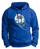 Native American Artwork Wolf and Moon Watercolor Landscape Painting Inlay Premium Hoodie Sweatshirt Small Royal
