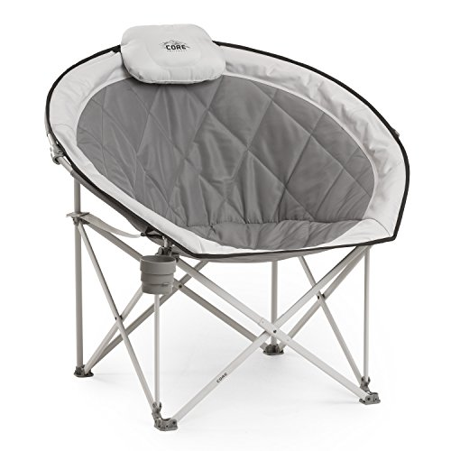 51HaIqzJIlL - Core Equipment Folding Oversized Padded Moon Round Saucer Chair with Carry Bag, Gray