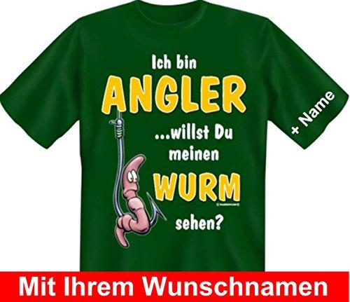 T-Shirt mit Wunschname - Bin Angler - Willst meinen Wurm sehen - Lustiges Sprüche Shirt als Geschenk für Fischer mit Humor - NEU mit persönlichem Namen