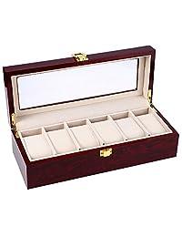 NEWBEN 6 Slots Glass Top Jewelry Storage Watch Display Case Wood Watches Box (Vermilion)