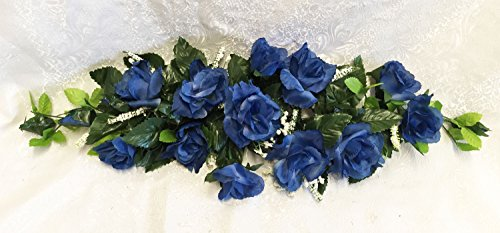 Navy Blue Swag ~ Roses Silk Wedding Decoration Flowers Artificial Arrangement Party Centerpieces Arch Decorations ()