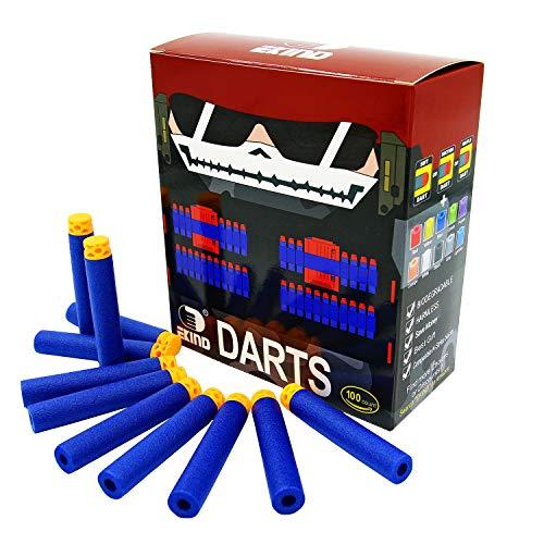 EKIND 100 Pcs 7.2cm TPR Waffles Soft Head Darts Refill Foam Bullet Compatible for Nerf N-Strike Elite AccuStrike Guns(Blue)