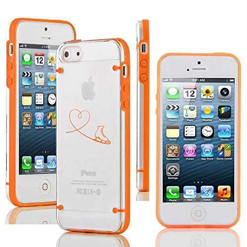 For Apple iPhone 5c Ultra Thin Transparent Clear Hard TPU Case Cover Heart Love Ice Skating (Orange) (Iphone 4s Ice Skating Case)