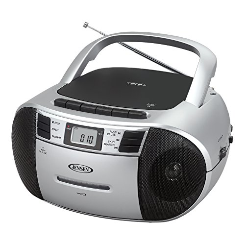 Jensen CD-545SB Top-Loading CD/MP3 AM/FM Radio Cassette Player, and Recorder Boombox Home Audio, Aux, Headphone Jack, Black/Silver