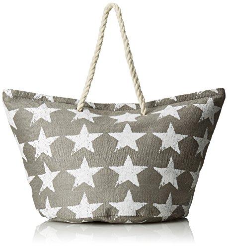 Shopper grau mit weißen Sternen Seil, Kordel, Tau als Griff in Vintage Used Look, Shabby Chic, Einkaufstasche, Strandtasche, Korbtasche (Shopper grau)