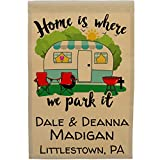 Home is Where We Park It, Personalized Campsite Welcome Sign Garden Flag Customize Your Way, Flag Only (Turquoise Trim Camper) For Sale