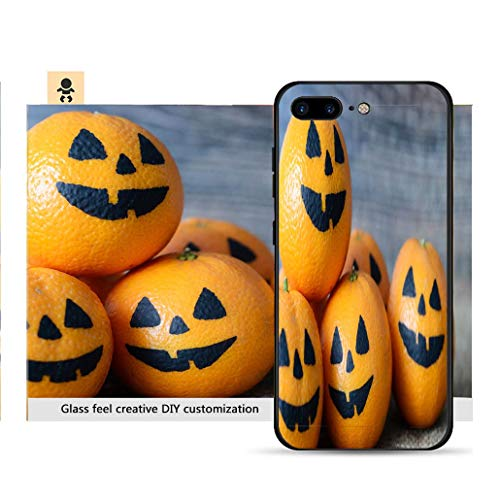 iPhone 7p / 8p Ultra-Thin Phone case Painted Scary Faces on a Holiday of Halloween on Orange Resistance to Falling, Non-Slip, Soft, Convenient Protective case ()
