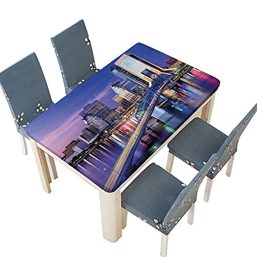 (PINAFORE Table in Washable Polyeste Urban Cityscape Bridge Office Buildings Jacksonville Florida Violet Blue Light Pink Tan Banquet Wedding Party Restaurant Tablecloth W57 x L96.5 INCH (Elastic)