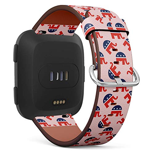 Replacement Leather Strap Printing Wristbands Compatible with Fitbit Versa - Republican Elephants Pattern on red Stripes