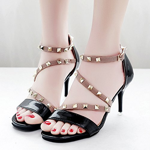 Moda Mujer verano sandalias confortables tacones altos,38 amarillo Black