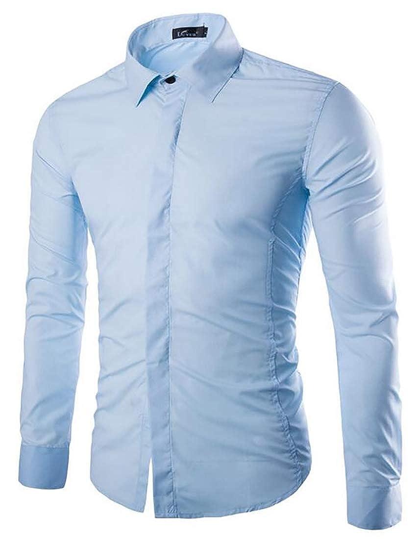 Yayu Mens Classic Long Sleeve Slim Fit Shirts Breathable Down Dress Shirts
