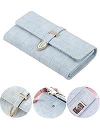 Women Rfid Blocking Long Clutch Wallet Grid Print Coin Purse PU Leather Buckle Zipper Card Holder Travel Purse